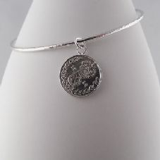Gorgeous Handmade Celeb Style Coin Charm Bangle Sterling Silver 1916 Threepence